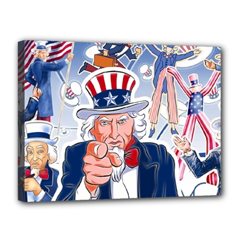 United States Of America Celebration Of Independence Day Uncle Sam Canvas 16  X 12  by Sapixe