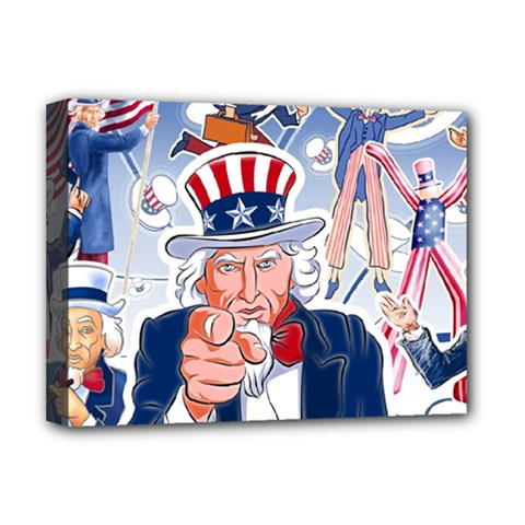 United States Of America Celebration Of Independence Day Uncle Sam Deluxe Canvas 16  X 12   by Sapixe