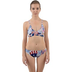 United States Of America Celebration Of Independence Day Uncle Sam Wrap Around Bikini Set