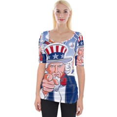 United States Of America Celebration Of Independence Day Uncle Sam Wide Neckline Tee