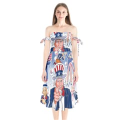 United States Of America Celebration Of Independence Day Uncle Sam Shoulder Tie Bardot Midi Dress by Sapixe