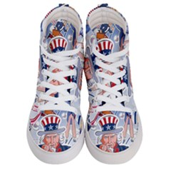United States Of America Celebration Of Independence Day Uncle Sam Women s Hi Top Skate Sneakers
