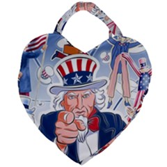 United States Of America Celebration Of Independence Day Uncle Sam Giant Heart Shaped Tote