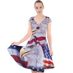 United States Of America Images Independence Day Cap Sleeve Front Wrap Midi Dress