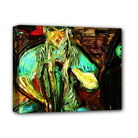Girl In The Bar Deluxe Canvas 14  X 11  by bestdesignintheworld