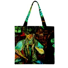 Girl In The Bar Zipper Grocery Tote Bag by bestdesignintheworld