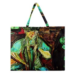 Girl In The Bar Zipper Large Tote Bag by bestdesignintheworld