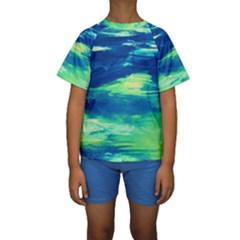 Sky Is The Limit Kids  Short Sleeve Swimwear by bestdesignintheworld