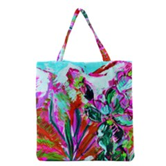 Desrt Blooming With Red Cactuses Grocery Tote Bag by bestdesignintheworld