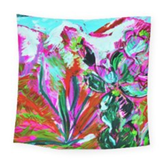 Desrt Blooming With Red Cactuses Square Tapestry (large) by bestdesignintheworld