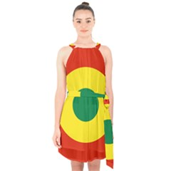 Roundel Of Bolivian Air Force Halter Collar Waist Tie Chiffon Dress