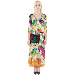 Dscf1390   Basket Flowers Quarter Sleeve Wrap Maxi Dress