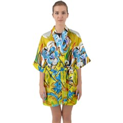 Dscf1422   Country Flowers In The Yard Quarter Sleeve Kimono Robe