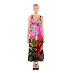 Dscf2035   Flamingo On A Chad Lake Sleeveless Maxi Dress