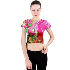 Dscf2035   Flamingo On A Chad Lake Crew Neck Crop Top
