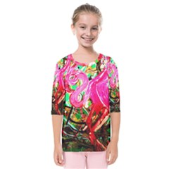 Dscf2035   Flamingo On A Chad Lake Kids  Quarter Sleeve Raglan Tee