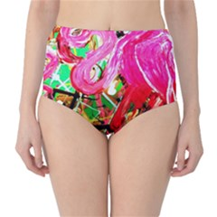 Dscf2035   Flamingo On A Chad Lake High Waist Bikini Bottoms