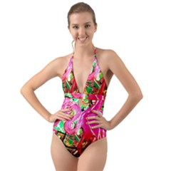 Dscf2035   Flamingo On A Chad Lake Halter Cut Out One Piece Swimsuit