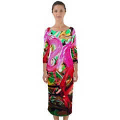 Dscf2035   Flamingo On A Chad Lake Quarter Sleeve Midi Bodycon Dress