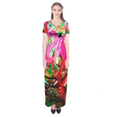 Dscf2035   Flamingo On A Chad Lake Short Sleeve Maxi Dress