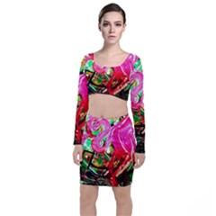 Dscf2035   Flamingo On A Chad Lake Long Sleeve Crop Top & Bodycon Skirt Set