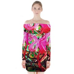 Dscf2035   Flamingo On A Chad Lake Long Sleeve Off Shoulder Dress