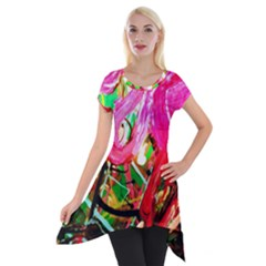 Dscf2035   Flamingo On A Chad Lake Short Sleeve Side Drop Tunic