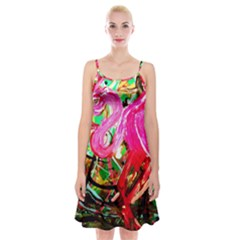 Dscf2035   Flamingo On A Chad Lake Spaghetti Strap Velvet Dress