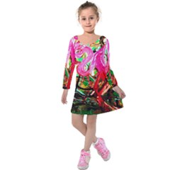 Dscf2035   Flamingo On A Chad Lake Kids  Long Sleeve Velvet Dress