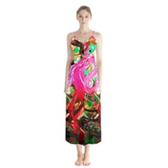 Dscf2035   Flamingo On A Chad Lake Button Up Chiffon Maxi Dress