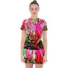 Dscf2035   Flamingo On A Chad Lake Drop Hem Mini Chiffon Dress