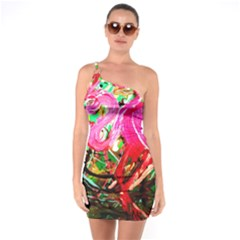 Dscf2035   Flamingo On A Chad Lake One Soulder Bodycon Dress
