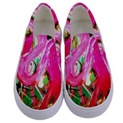 Dscf2035   Flamingo On A Chad Lake Kids  Canvas Slip Ons