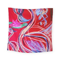 Dscf1395  Pink Flamingo Dance Square Tapestry (small) by bestdesignintheworld