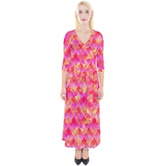 Squama Fhis Paint Flower Of Life Pattern Quarter Sleeve Wrap Maxi Dress