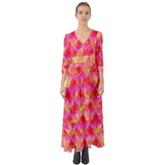 Squama Fhis Paint Flower Of Life Pattern Button Up Boho Maxi Dress by Cveti