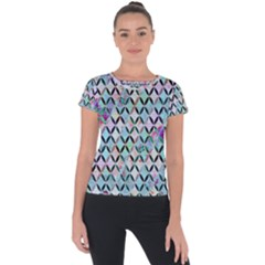 Rhomboids Flower Of Life Paint Pattern Short Sleeve Sports Top  by Cveti