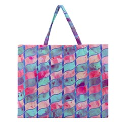 Leaves Paint Flower Of Life 01 Zipper Large Tote Bag by Cveti