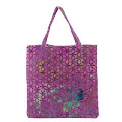 Flower Of Life Paint Purple  Grocery Tote Bag by Cveti