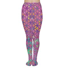 Flower Of Life Paint Purple  Women s Tights by Cveti