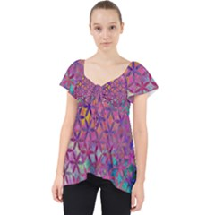 Flower Of Life Paint Purple  Lace Front Dolly Top by Cveti