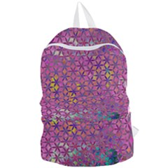 Flower Of Life Paint Purple  Foldable Lightweight Backpack by Cveti