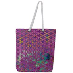 Flower Of Life Paint Purple  Full Print Rope Handle Tote (large) by Cveti