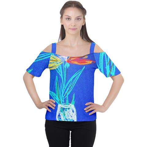 Dscf1451 - Birds If Paradise In A Cristal Vase Cutout Shoulder Tee by bestdesignintheworld