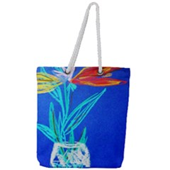 Dscf1451   Birds If Paradise In A Cristal Vase Full Print Rope Handle Tote (large) by bestdesignintheworld