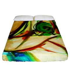 Girl In A Blue Tank Top Fitted Sheet (king Size) by bestdesignintheworld