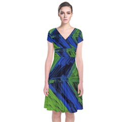 Point Of Equilibrium 2 Short Sleeve Front Wrap Dress
