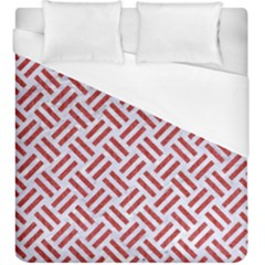 Woven2 White Marble & Red Denim (r) Duvet Cover (king Size) by trendistuff