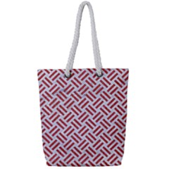 Woven2 White Marble & Red Denim (r) Full Print Rope Handle Tote (small) by trendistuff