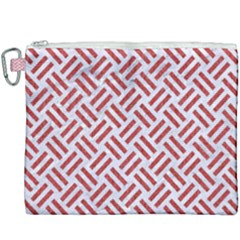 Woven2 White Marble & Red Denim (r) Canvas Cosmetic Bag (xxxl) by trendistuff